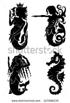 Set Of Black Silhouette On Mermaid And Sea Horse Stock Vector ...