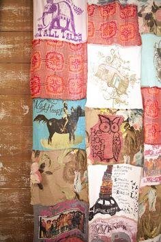 junk gypsies DIY tee shirt curtains from the junk gypsies Fairytale Living Room on hgtv. reruns now on Great American Country, gactv!