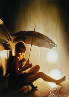 Carrie Graber - Spring Rain 20 x oil on canvas Rain Umbrella, Under My Umbrella, Walking In The Rain, Singing In The Rain, Rainy Night, Rainy Days, Night Rain, Its Raining Its Pouring, The Woman In Black