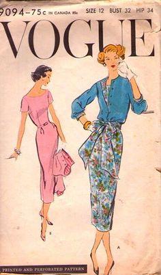 LOVELY Vintage 50's VOGUE Pattern  9094 -  One Piece Dress & Jacket - size 12 Bust 32. $18.20, via Etsy.