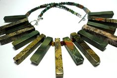 Picasso Jasper Cleopatra Collar Necklace Earthy RusticTribal Necklace with Sterling