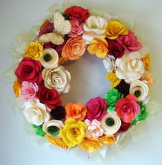 Paper Flower Wreath Spring has Sprung  13 Inch by SweetPeasFlorals, $40.00