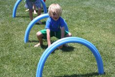 Using pool noodles to create an obstacle course - great for kids that crawl and walk! Block Party Games, Diy Party Games, Party Ideas, Game Ideas, Soccer Birthday, 4th Birthday Parties, Soccer Party, 7th Birthday, Relay Games For Kids