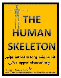 """Teach students all about """"dem bones!"""" in the human skeleton. Reading passages with comprehension pages, task cards, and an assessment included. Fun unit for fall! Elementary Science, Science For Kids, Upper Elementary, Reading Passages, Reading Comprehension, Learning A Second Language, Learn Hebrew, Thematic Units, Student Studying"""