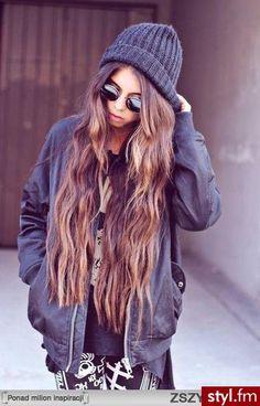 Long hair in a beanie