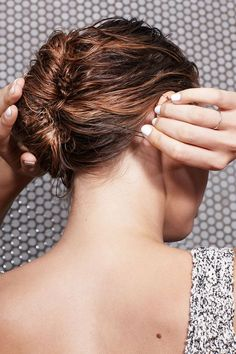 4 Wet Hairstyles You Can Totally Wear To Work #refinery29 http://www.refinery29.com/how-to-style-wet-hair#slide-4 Tuck any remaining hair up into the twist and insert four to five large, U-shaped pins to secure the style. As you pin, slide them through the edge of the roll and back into the seam in a quick right-to-left motion to keep them from falling out....