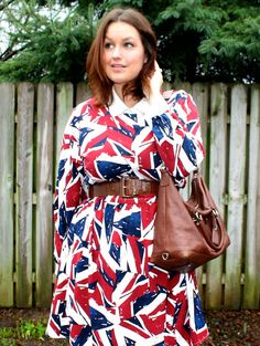 Love the way this Union Jack print dress looks belted