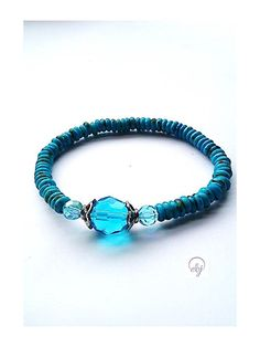 Turquoise Seed Bead Stretch Bracelet With Turquoise Crystals