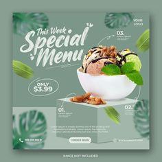Social Media Banner, Social Media Design, Social Media Template, Food Graphic Design, Menu Design, Ad Design, Banner Template, Food Template, Photoshop Design