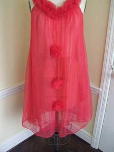 Vintage 1960s Hot Pink Sheer Double Chiffon Nightie
