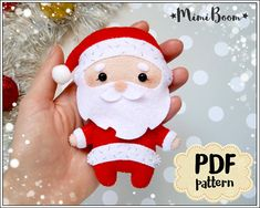 This is a digital tutorial on how to make Santa Claus Christmas ornament from felt  Included step by step instructions, pictures and full size pattern pieces. (no need to enlarge or resize). Its completely hand sew and you dont need a sewing machine.  THIS IS NOT A FINISHED TOY. THIS IS A PDF PATTERN DOWNLOAD. All needed materials you must to purchase yourself.  Approx. size of toy is: about 4.7 inch (12 cm) tall.  PDF tutorial includes: - Step by step pictures - English step by step…