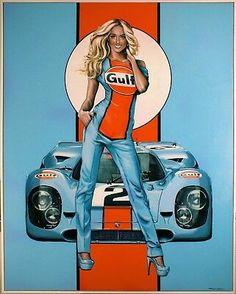 Pin Up Girl Racing Poster | eBay Auto Poster, Car Posters, Pin Up Posters, Car Girls, Pin Up Girls, Vintage Racing, Vintage Cars, Carros Lamborghini, Lamborghini Gallardo