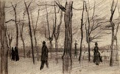 Luxembourg Garden in Paris by Vincent van Gogh   Medium: pencil on paper