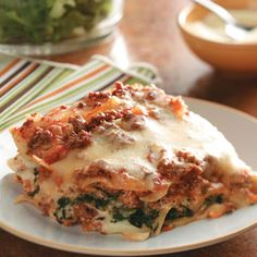 Ground Beef Spinach Alfredo Lasagna Recipe from Taste of Home -- shared by Deborah Bruno of Mira Loma, California