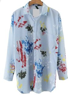 19$  Buy now - http://ditl9.justgood.pw/go.php?t=8752 - Blue Printed Blouse With Pocket 19$
