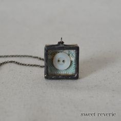 Mint Button Necklace, Miniature Soldered Shadow Box Reliquary Pendant, Vintage Found Object Altered Art Jewelry