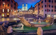 Download wallpapers Fontana della Barcaccia, evening, city lights, Spanish Steps, attractions, Rome, Italy