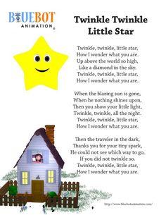 Free printable nursery rhyme lyrics page. Twinkle Twinkle Little star nursery rhyme lyrics. by Bluebot animation. (TAG : Nursery Rhyme (Literature Subject), #nursery rhymes, Children's Song, nursery rhyme, nursery rhymes, English rhymes collection, rhymes for children, children songs, songs for children, lyrics)