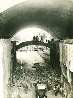 Demolishing Princes Street Stone Arch Ring Sydney 1931. Part of the Harbour Bridge construction