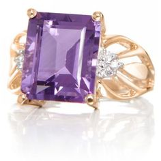 Belk  Co. Purple Amethyst And Diamond Ring In 14K Yellow Gold ($775) ❤ liked on Polyvore featuring jewelry, rings, purple, purple diamond ring, yellow gold diamond rings, amethyst rings, emerald cut ring and gold diamond rings