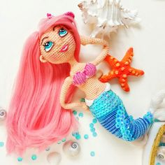 Knitted mermaid by Totaksusha Crochet Mermaid, Mermaid Diy, Crochet Baby, Doll Patterns, Crochet Patterns, Peri, Amigurumi Doll, Crochet Dolls, Handmade Toys