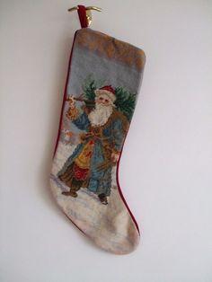 NEEDLEPOINT Christmas Holiday Stocking ~ Santa hauling tree 23-24 inches #Unbranded
