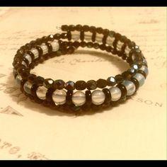 Black and White Wrap Bracelet Black AB Czech glass and Milk Glass 3 wrap bracelet Sayre Jewelry Bracelets