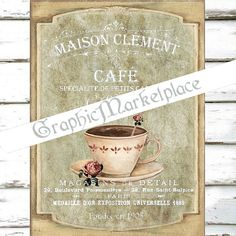 French Cafe Paris Teacup Maison Large Image by GraphicMarketplace