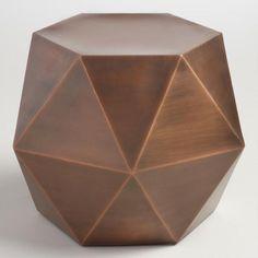 Antique Copper Alini Accent Drum Table - v1