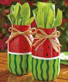 2 Watermelon Painted Mason Jars Utensil Holder Fruits Summer Decor Flowers Vase in Home & Garden, Kitchen, Dining & Bar, Kitchen Tools & Gadgets, Cooking Utensils Mason Jar Projects, Mason Jar Crafts, Mason Jar Diy, Bottle Crafts, Watermelon Painting, Watermelon Decor, Watermelon Birthday, Watermelon Ideas, Watermelon Party Decorations