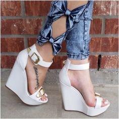 BENNY White $44.99 Platform Wedges Shoes, Wedge Sandals, Wedge Shoes, Shoes Names, White Wedges, Prom Heels, Shoe Closet, Huaraches, Cute Shoes