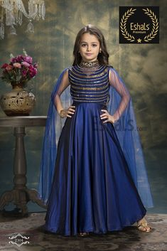Want a goddess look? Try our latest design collection with this Eshals Midnight Blue Gown! Stylish Dresses For Girls, Frocks For Girls, Kids Frocks, Girls Dresses, Kids Party Wear Dresses, Baby Girl Party Dresses, Little Girl Dresses, Kids Blouse Designs, Kids Lehenga