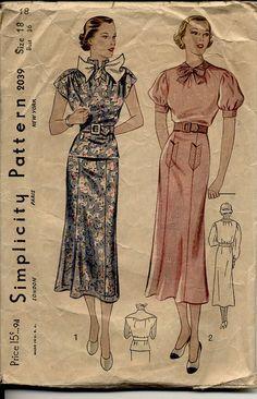 1930s Dress Pattern Simplicity 2039