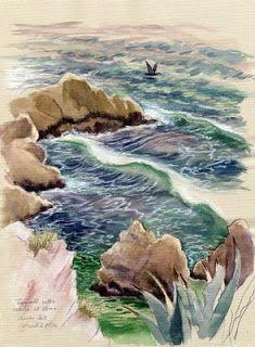 I colori di Conci- Conci's colours: Mare al Circeo-tecnica mista su carta.