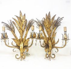 Pair of 1950s Italian electric wall sconces Gold Gilding, Wall Sconces, Bulbs, 1950s, Electric, Chandelier, Ceiling Lights, Candles, Deep