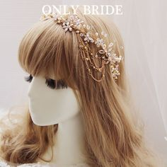 Find More Hair Jewelry Information about Vintage Rhinestone Handmade Wedding Headband Crown Gold Crystal Flower Halo With Swags Bridal Hair Accessories,High Quality accessories body,China pearl necklace white gold Suppliers, Cheap pearl pink from ONLY BRIDE on Aliexpress.com