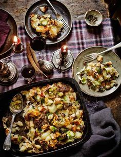 'Boxing Day' Bubble & Squeak..  traditionally English: this one is made with Christmas Day leftovers: potatoes, brussels sprouts, roast potatoes, parsnips, carrots, chestnuts, stuffing, etc.