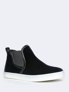 - It doesn't get much more awesome than with these velvet sneakers! - High top sneakers are easy to pull on with the elastic at the sides and pull tab in the back. - Non-skid sole and cushioned footbe