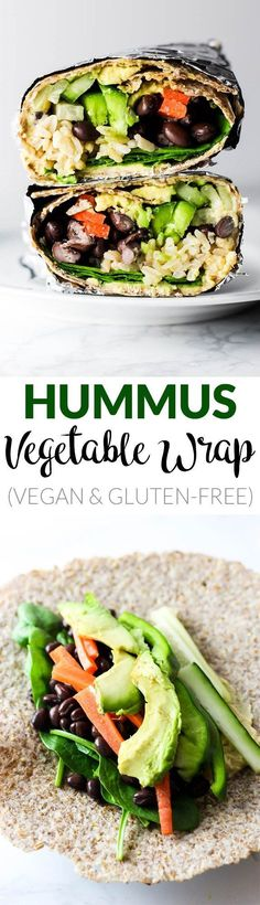 This Hummus Vegetable Wrap is a great on-the-go lunch option! Stuff it with all … This Hummus Vegetable Wrap is a great on-the-go lunch option! Stuff it with all of your favorite vegetables, beans & creamy hummus. Vegan Lunches, Vegan Foods, Vegan Vegetarian, Vegetarian Recipes, Healthy Recipes, Vegetarian Sandwiches, Going Vegetarian, Vegetarian Breakfast, Vegan Gluten Free