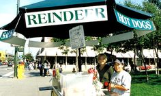 Reindeer sausage for sale in downtown Anchorage - Alaska, USA.  -kc