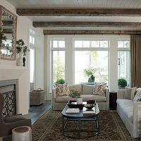 living rooms -  dark hardwood floors, linen sofa, exposed beams