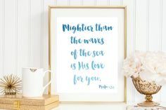Blue Watercolor Ombre  Mightier Than The Waves by MaggieJDesigns