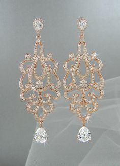 Rose Gold Bridal Earrings Crystal Wedding by CrystalAvenues