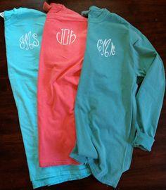 Monogrammed Comfort Colors Long Sleeve Shirt