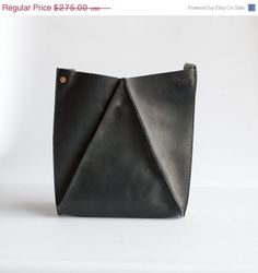 Black Leather Shoulder Bag by CrowSLC on Etsy