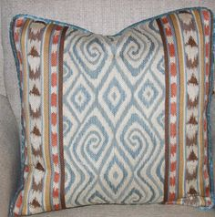 Blue  pillow ikat designs with orange and brown spa blue with self welted custom Decorative aqua Pillow Cover 20x20
