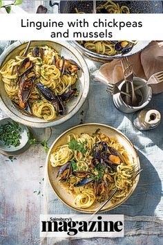 This linguine recipe with mussels and chickpeas is wonderful for summer. Full of southern Italian flavours like fennel, chilli and parsley, it's an easy pasta dish that only takes 35 minutes to cook. Get the Sainsbury's magazine recipe Linguine Recipes, Yummy Pasta Recipes, Seafood Recipes, Seafood Linguine, Mussels, Chickpea Recipes, Easy Pasta Dishes, Midweek Meals, Light Recipes
