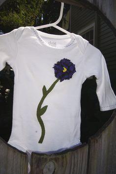 baby onesie, infant tshirt, toddler tee- purple flower ruffle girl onesie. $15.00, via Etsy.