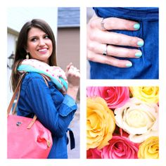 Spring hits Columbus as @Amanda Hamman (girl about columbus) styles our denim shirt dress, inspired by @essie. #PrettyPolish #SpringBouquets #MeijerStyle #yes!