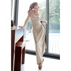 Wholesale Slimming Side Drawstring Design Khaki Women's Maxi Dress Only $6.57 Drop Shipping | TrendsGal.com